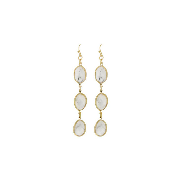 triple white stone drop earrings