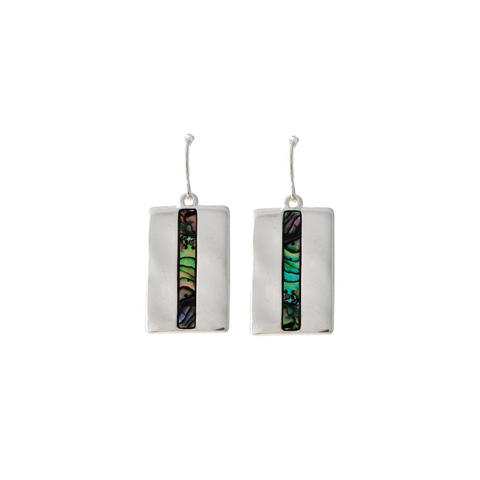 silver rectangle drop earrings with abalone stripe