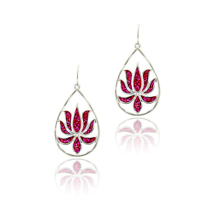 silver lotus teardrop earrings with pink glitter