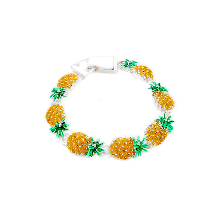 enameled silver pineapple bracelet