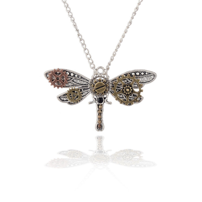 steampunk dragonfly pendant necklace