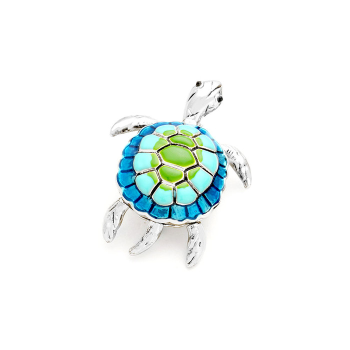 blue and green enameled silver sea turtle pin