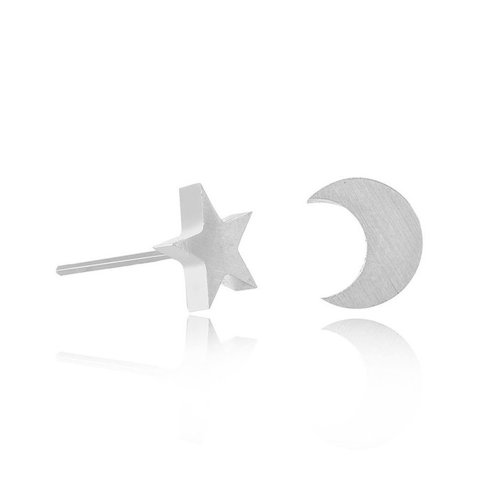 Silver Star and Moon Post Earrings