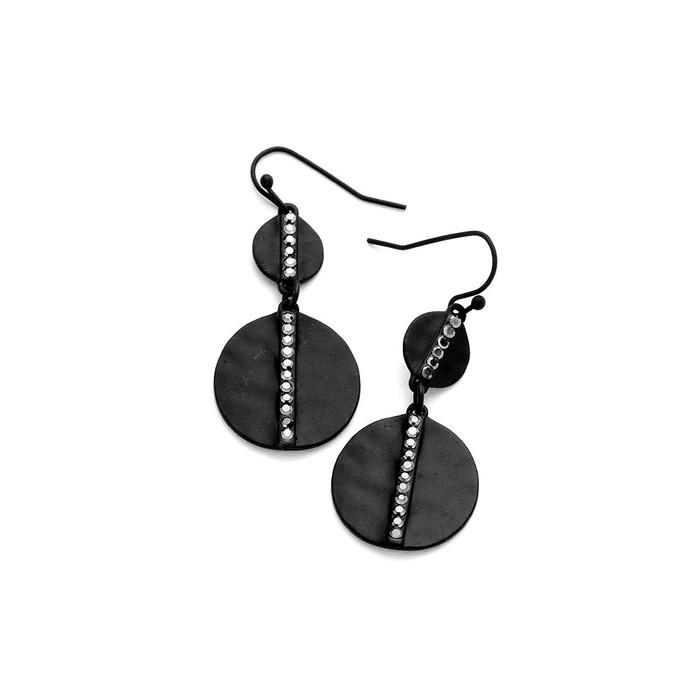 double black disc drop earrings with metallic crystal detail