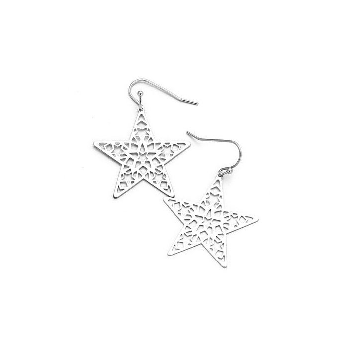 silver feather-light cutout star drop earrings