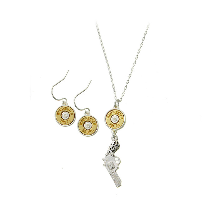 antiqued silver revolver and golden bullet necklace and drop earring set