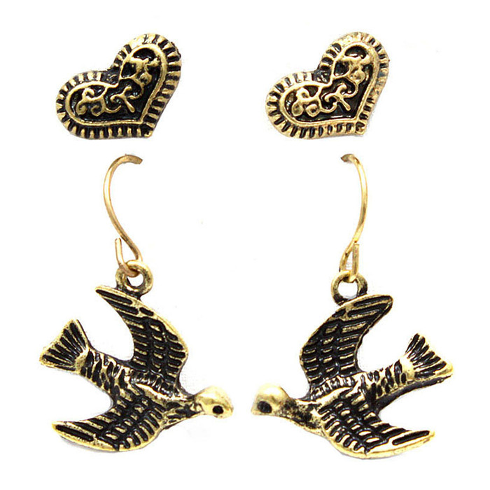 antiqued gold swallow and heart earring set