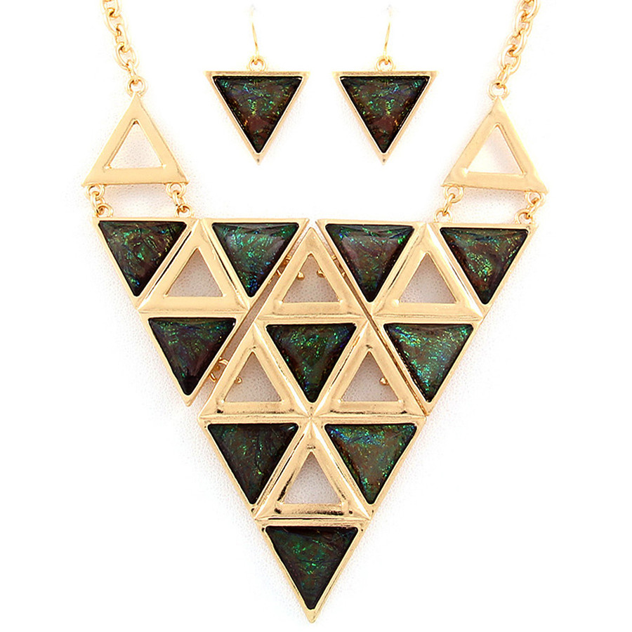 opalescent geometric necklace and earring set