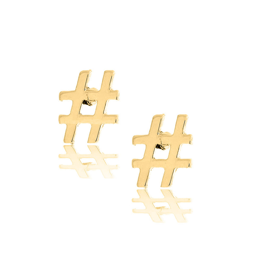 golden hashtag post earrings