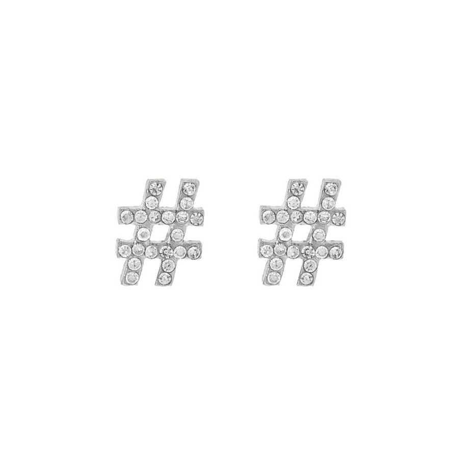 bejeweled silver hashtag post earrings