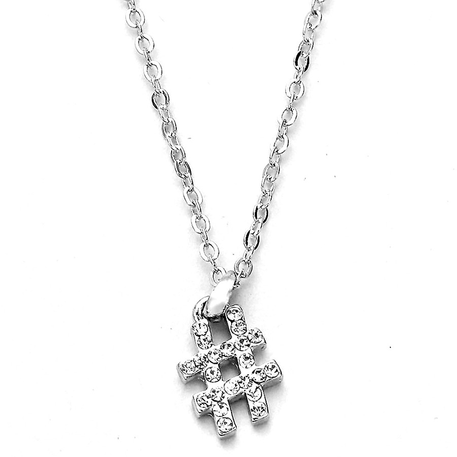 bejeweled silver hashtag necklace