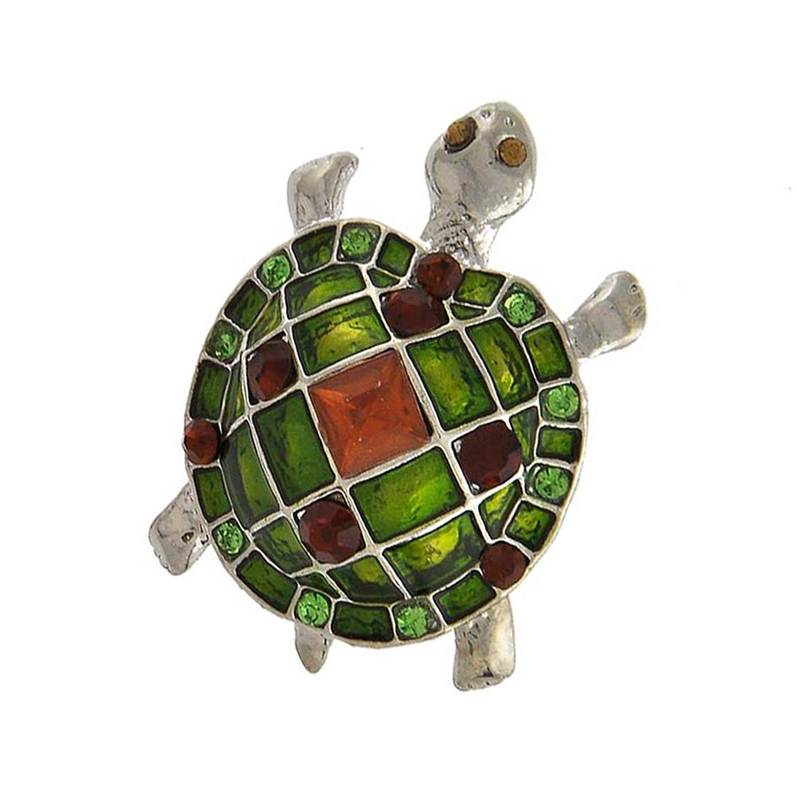 bejeweled and enameled turtle/tortoise pin
