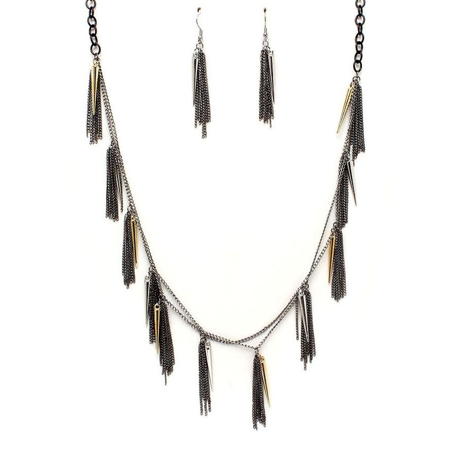 long multi-chain spike fringe necklace