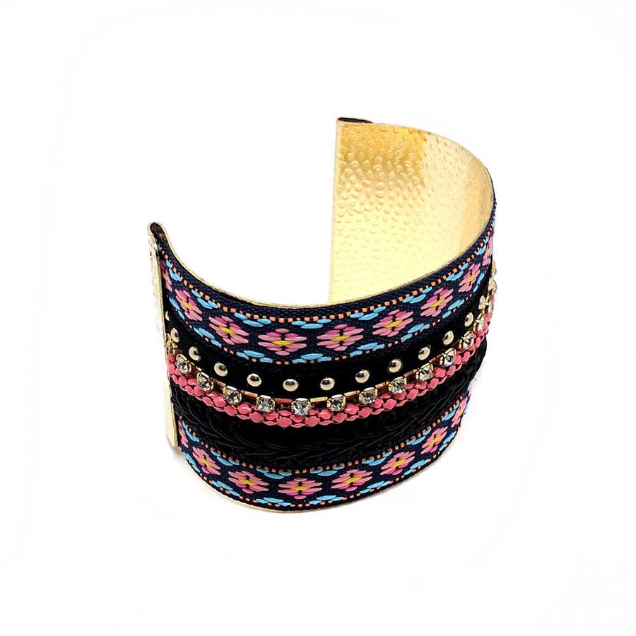 colorful bejeweled multi-ribbon cuff