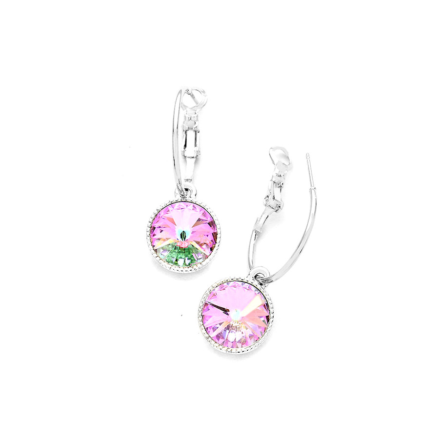 gorgeous light vitrail Austrian crystal hoop leverback earrings