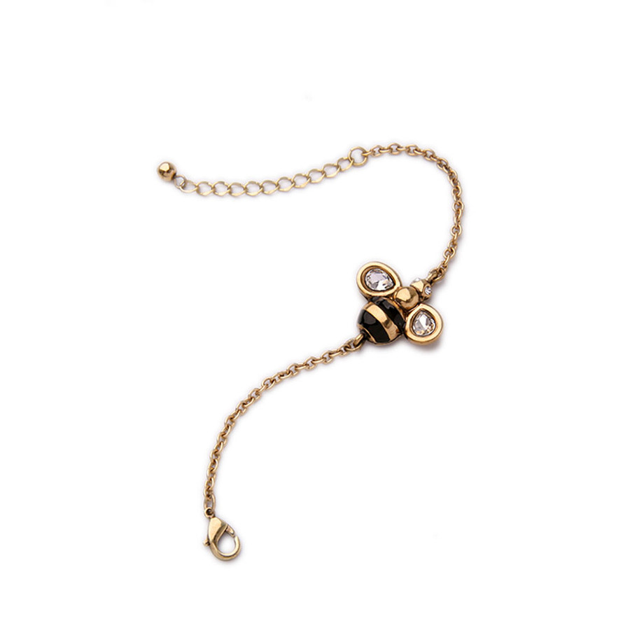 antiqued golden bee bracelet with crystal detail