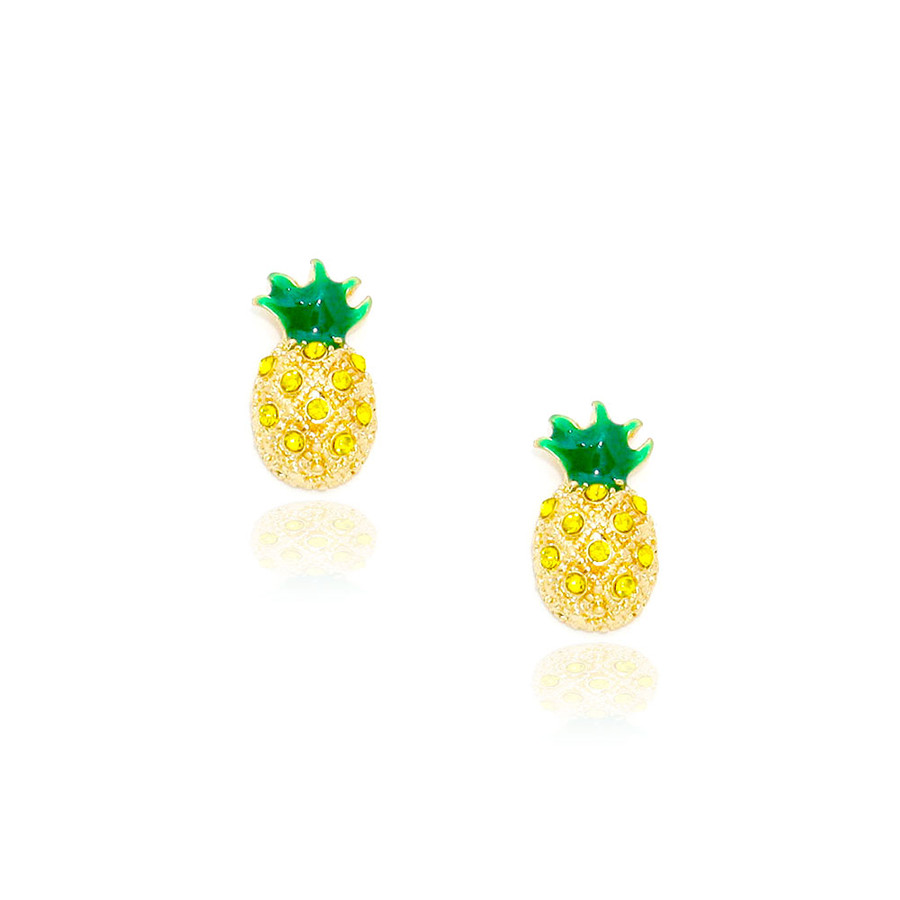mini bejeweled and enameled golden pineapple post earrings