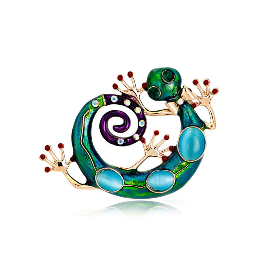 wacky enameled and bejeweled gecko pin