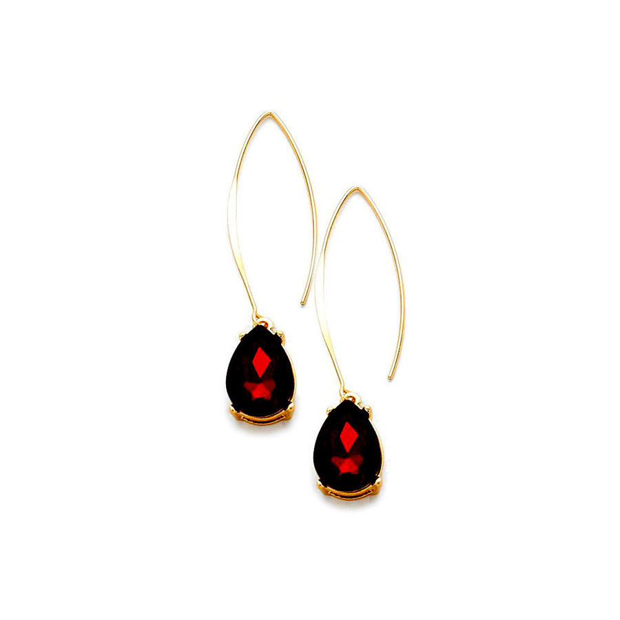 gold and red teardrop crystal thread-through drop earrings