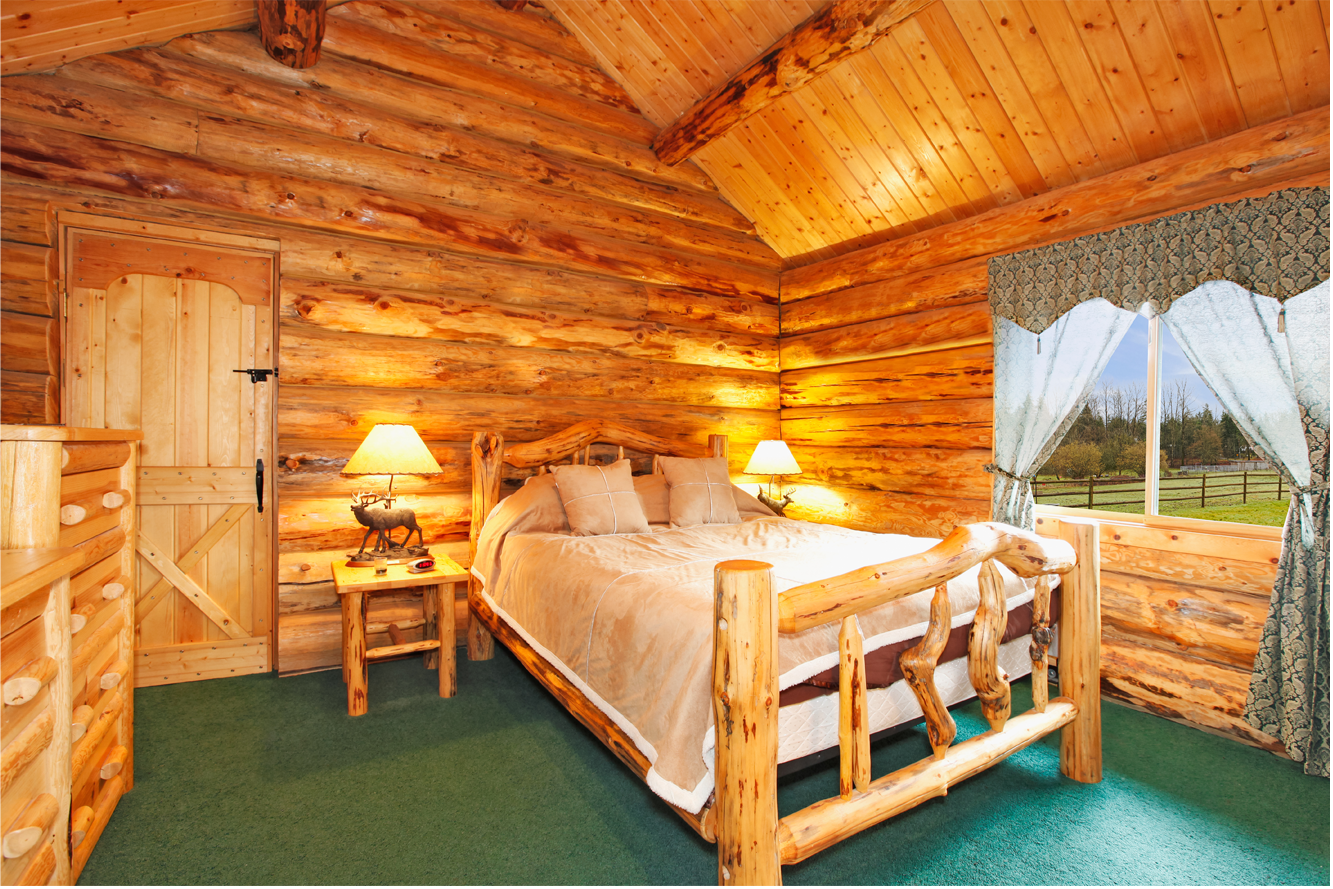 Rustic Pine Log Bed