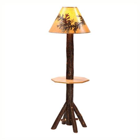 FL89240 Hickory Floor Lamp With Shelf