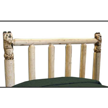 GT1103HB GoodTimber Carved Bear Post Log Headboard
