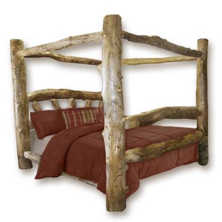 1204SBC Custom Sunburst Rustic Aspen Log Canopy Bed  sc 1 st  Log Furniture Site & Canopy Log Bed