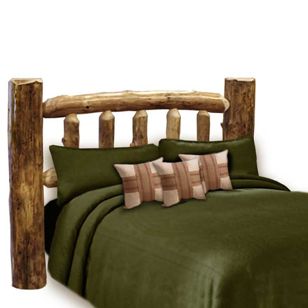 1204SBHB Custom Sunburst Rustic Aspen Log Headboard
