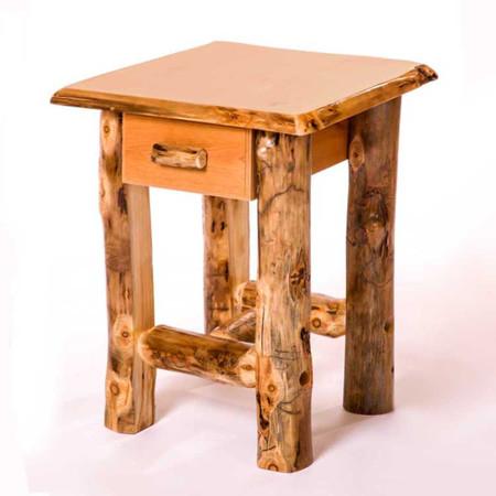 3205 Rustic Single Drawer Log End Table/Nightstand