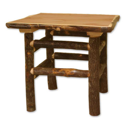3217 Bark on Lodge Pole End Table/Nightstand