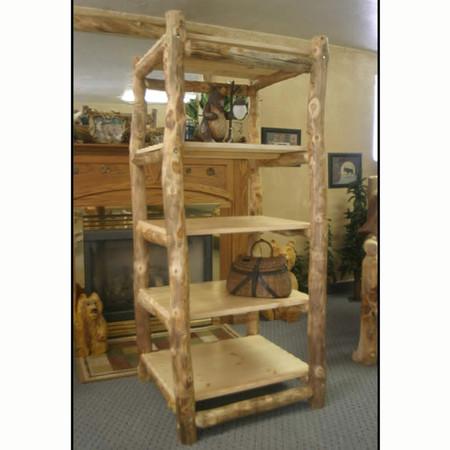 4207 Rustic Aspen Log Bookcase
