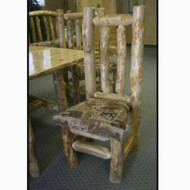 5102 Rustic Log Dining Chair with Fabric Cushion