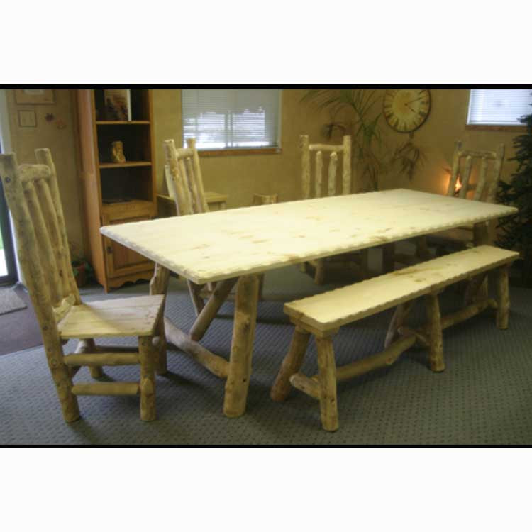 Log furniture leaf dining table for Dining table with leaf insert