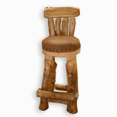 5222 Rustic Round Bar Stool with Back