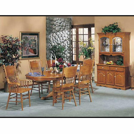 A02186 Oak Finish Pedestal Dining Table Set