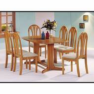A02190 Oak Finish Double Pedestal Solid Wood Table Set