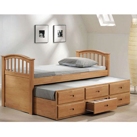 A08933 Maple Finish Full Size Bed with Twin Trundle & Drawers