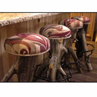 Red Cedar Metal Sculpted Bar Stool