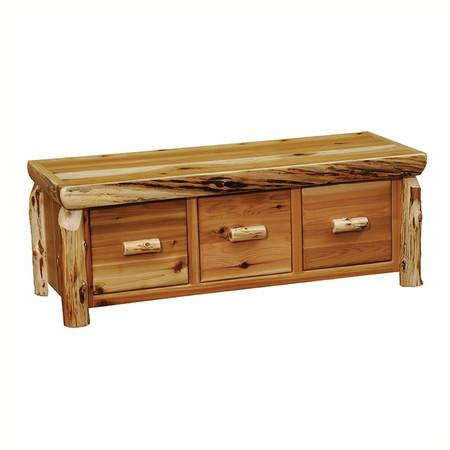 FL14520 Cedar Entry Bench With 3 Drawers