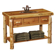FL33460 Cedar Open Vanity With Shelf and 2 Drawers