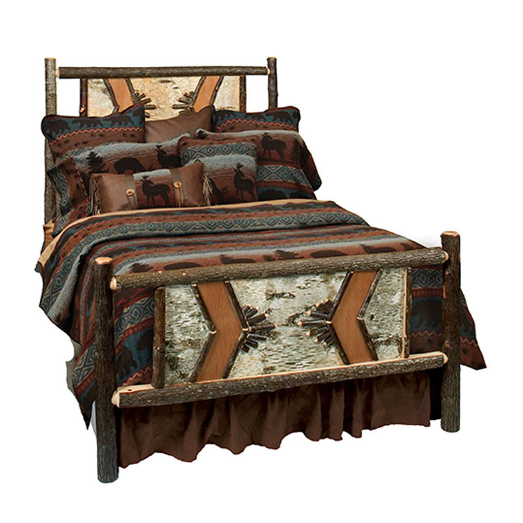Rustic furniture hickory adirondack traditional bed Adirondack bed frame