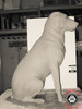 Latex and polyfoam form that is in the shape of a sitting, adult, labrador retriever