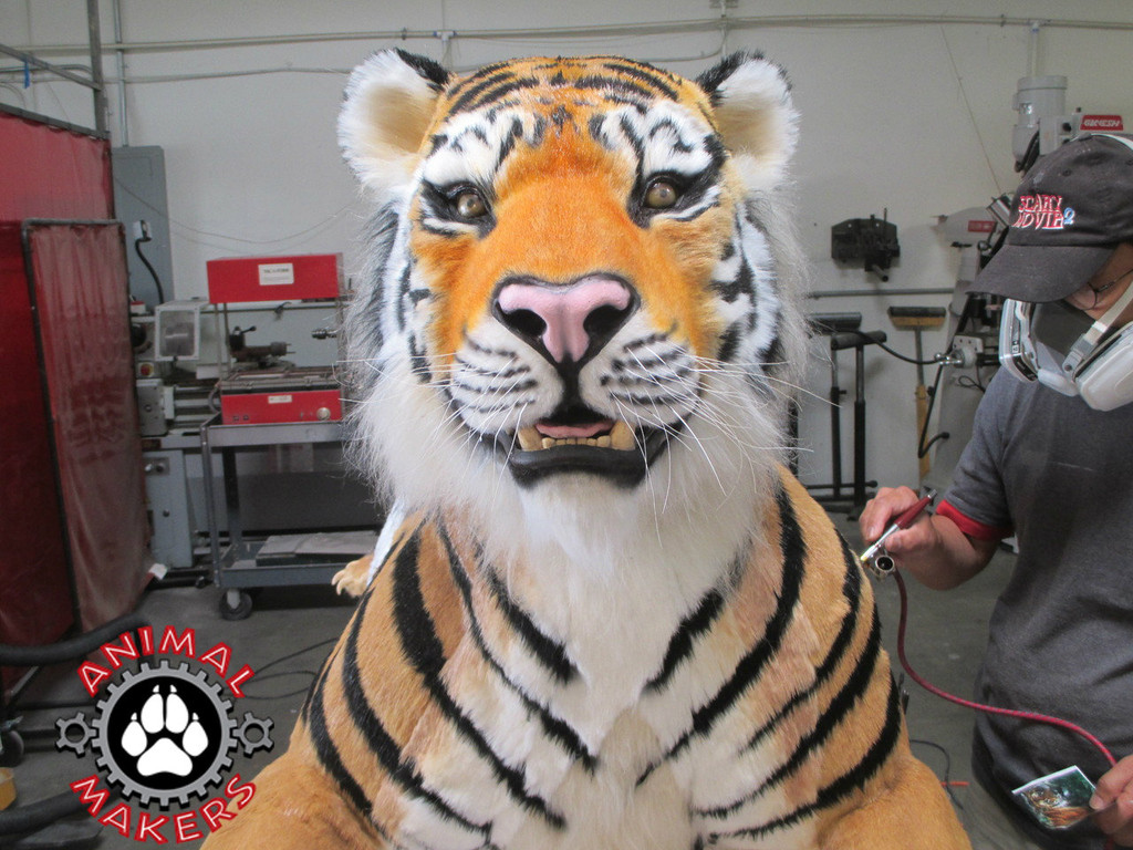 Realistic animated tiger replica