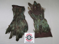 green feathered gloves for puppeteers