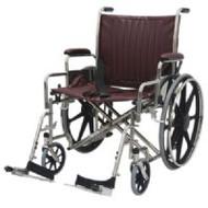 "Bariatric Wheelchair w/ Detachable Footrest (24"", burgundy)"