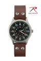 Military Style Watch with Leather Band