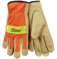 Kinco Safety Orange Mesh Back Pigskin Leather Driver Glove