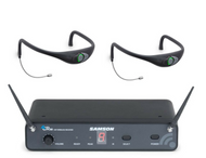 Samson Airline 88 Frequency-Agile CR88 Receiver + 2 x AH8 Combo Sweat-Resistant Fitness Headsets
