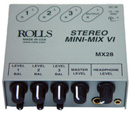 Rolls MX-28 Mini Mix VI 3- Channel Stereo Mixer - OPEN BOX CLEARANCE