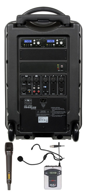 Galaxy Audio GAL10COMBO TV8 AC/Battery-Powered 150 Watt Portable Sound System - Basic System + 1 Handheld System + 1 Fitness Headset Mic System with Beltpack (no CD)